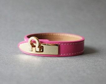 Gancini Metal Ornament Bracelet (Hot Pink)