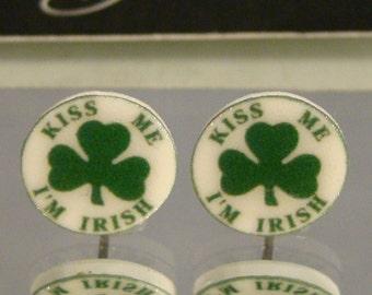 Kiss me I'm Irish Shamrock Stud earrings