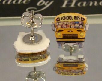 School Bus Stud Earrings - Bus Driver Jewelry - Gift jewellery