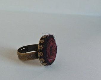 Boho felt ring. Felted accessories. Winter night