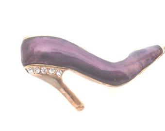 18K Gold Layered Purple Enamel Shoe Pin Brooch
