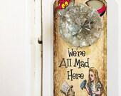 Alice in Wonderland printable  Door Hanger sign DIY  collage sheet craft supply instant download