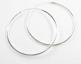 1 pair  of 925 Sterling Silver Round  Hoop Earrings 1.2x40 mm. :th1666