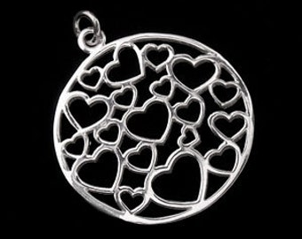 1 of 925 Sterling Silver Cutout  Heart Pendant 25mm.Polish Finished  :th1936