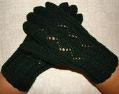 Hand knitted dark green warm thick women gloves