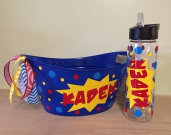 Gift set - Personalized oval tub and matching tumbler or sport bottle - Easter or Birthday gift basket, comic, super hero or other design