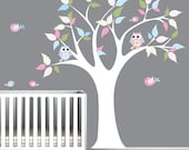 Nursery Wall Decal Stickers Children Wall Decal Tree with Chevron Pattern Leaves