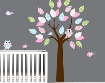 Wall Decal Tree with Birds Owls-Children Nursery Decals Stickers Vinyl