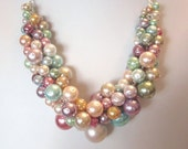 """The """"Shades of Spring"""" Pearl Cluster Necklace - Chunky, Choker, Bib, Necklace, Wedding, Bridal, Bridesmaid, Prom, Formal, SRAJD"""