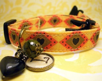 Safety cat collar - Toy dog collar - cat collar - small dog collar -  Personalized charm - Heart Charm - Hearts  - Antique Brass