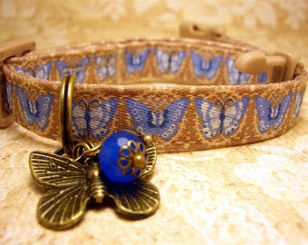 Safety cat collar - Cat collar - Toy Dog collar - Small Dog collar -  Cat charm - Gemstone charm - Pet charm - Butterfly charm