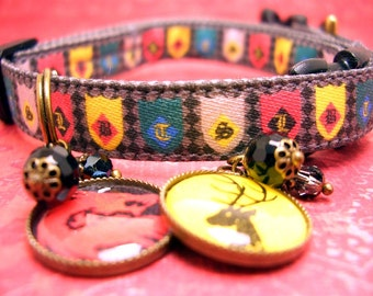 Game of Thrones - Safety Cat Collar- Toy Dog Collar - Cat Collar - Mini Dog Collar -  Cat charm - Gemstone Charm - Dragon Charm
