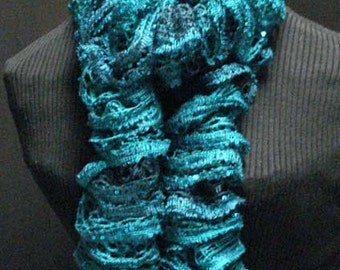 Hand Knit Ruffled Scarf in Shades of Emerald with Sequins