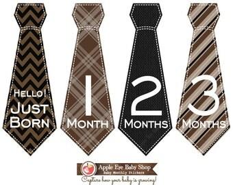 SALE Monthly Baby Tie Stickers +Just Born Bodysuit Sticker Boy Month Milestone Sticker Baby Gift Photo Prop Brown Black Chevron 004T