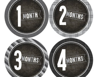Baby Monthly Stickers FREE Baby Month Milestone Sticker Baby Month Stickers Baby Boy Bodysuit Sticker Photo Props Grey Black White 010B