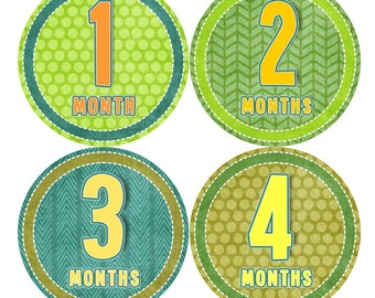 Baby Month Milestone Stickers FREE Baby Month Sticker Baby Monthly Stickers Baby Boy Bodysuit Stickers Baby Gift Orange Green Yellow 043B