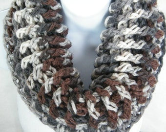 Crochet Scarf,  cowl, infinity scarf, Chunky Scarf, Greys, Browns and Beiges. Ready to ship now.