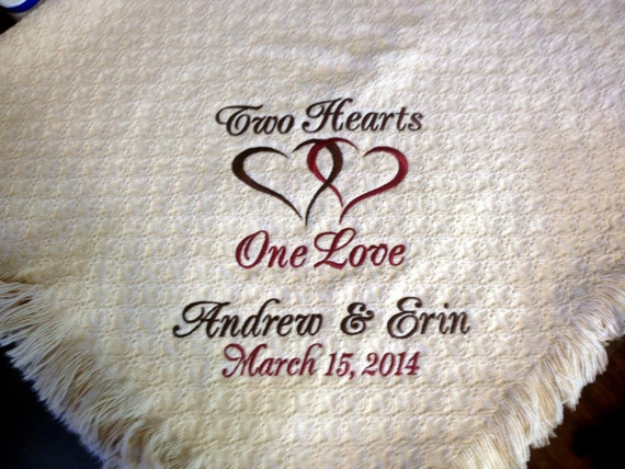 personalized wedding throw blanket two hearts one by