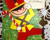 C742 Vintage Die Cut Christmas Greeting Card by Rust Craft Soldier felted