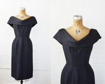 1950s Dress - 50s Dress - Dark Navy Silk Cocktail Dress