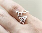 Lightning bolt Glasses Ring / Choose your color / gold and silver, Adjustable ring