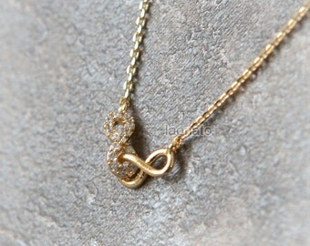 Linked Infinity Necklace / choose your color / gold and silver
