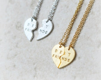 Split Heart Best Friends Necklaces, Set of 2 necklaces / choose your color, gold and silver