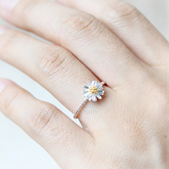 Tiny Silver Daisy Ring / plated brass, 925 sterling silver