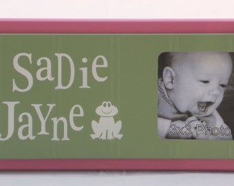 Frog Nursery Decor, Froggy Art Wall Decor, Personalized Baby Nursery Picture Frames, Green and Pink Baby Girl Decor Photo Frame Custom Order