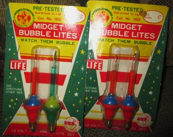 2 Pair 1950's Christmas Lights Midget Bubble Lites.  Made in Japan.  New in Package.  X-011