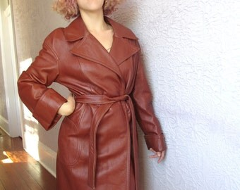 70's Vintage Leather Trench Coat High Quality  large Mint