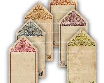 Shabby Chic Tags DIY Digital Collage Sheet for Gift Cards Greeting Hang Swing Tags Labels on Antique Parchment Background 611