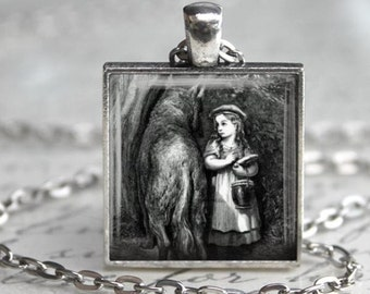 Little Red Riding Hood Necklace - Charm - Free Chain or Keyring (309)