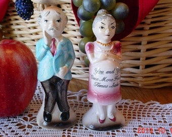 Husband and Wife Vintage Enesco Salt and Pepper Shakers