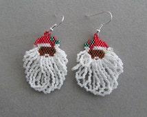 Santa Claus Earrings with fluffy beard