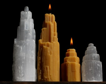One. Md) - Selenite Crystal Shaped Beeswax Candle w/ embedded Quartz tips - Crystal Tower - (-One Md.)