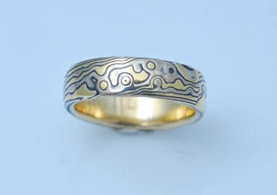 14k White Gold 18k Yellow Gold  with Sterling  Random Etched Mokume Gane Band