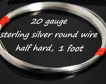 Stertling silver round wire, half hard, 20 gauge, 1 foot
