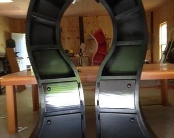 Handmade, 6ft Curved Bookshelf, mirrored pair
