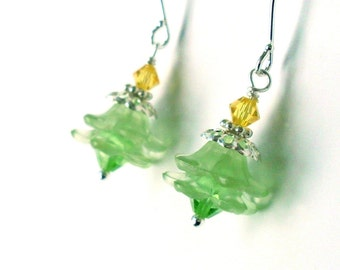 Lucite flower crystal earrings, green flower layered earrings, yellow green beads Austrian crystal, bright silver, flower jewelry