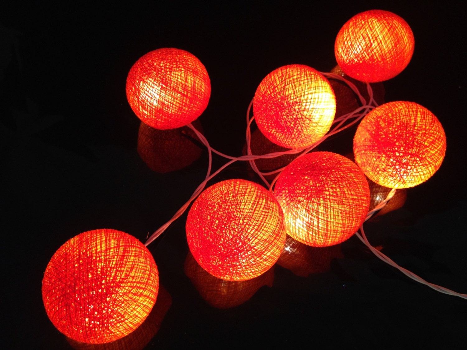 Custom Party String Lights : 35 Bulbs Handmade Neon Orange Cotton ball string lights for