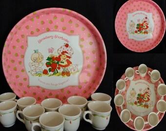 Strawberry Shortcake Platter 1982 Free BONUS  Set of Ten Demitasse China Cups