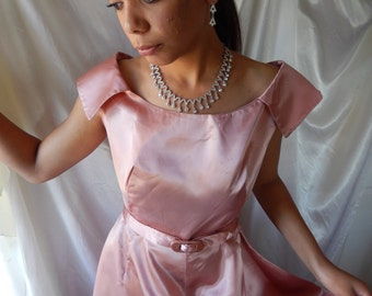 Vintage Formal - Vintage Pink Satin - Floor Length Formal - Satin Formal - Pink Satin Dress - 1950s Formal