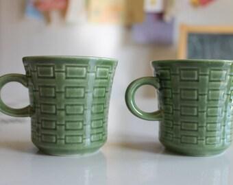Vintage Pair of Green Verde Japan Coffee Mugs/ Tea Cups~Rectangles Mid Century