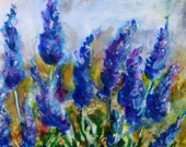 Original Painting Lavender Flowers -Floral Painting -  Purple Blue - Encaustic Original Painting - Mixed Media