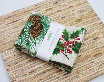 Large Cloth Napkins - Set of 4 - (N2280) - Green Pinecone Pine Needle Modern Reusable Fabric Napkins