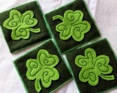 Set of Four Green Felt Coaster with Applique Clover Leaf