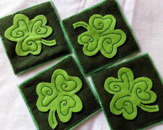 Set of Four Green Felt Coaster with Applique Clover Leaf