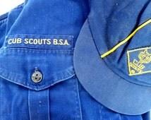 Vintage CUB SCOUT UNIFORM/ Cap and Shirt