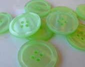 "11 Lime Green Glossy 4 Hole Round Buttons Size 1""."